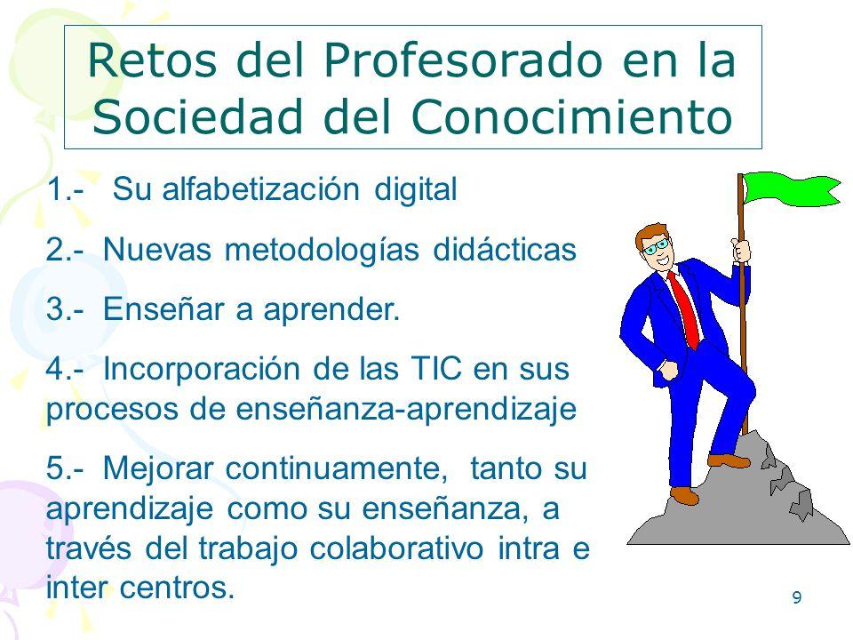 9 Retos del Profesorado en la Sociedad del Conocimiento 1.- Su alfabetización digital 2.- Nuevas metodologías didácticas 3.- Enseñar a aprender. 4.- I