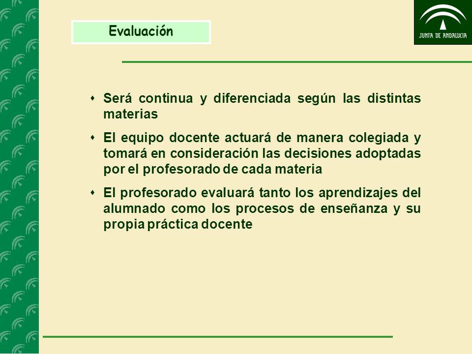 Evaluación Será continua y diferenciada según las distintas materias El equipo docente actuará de manera colegiada y tomará en consideración las decis