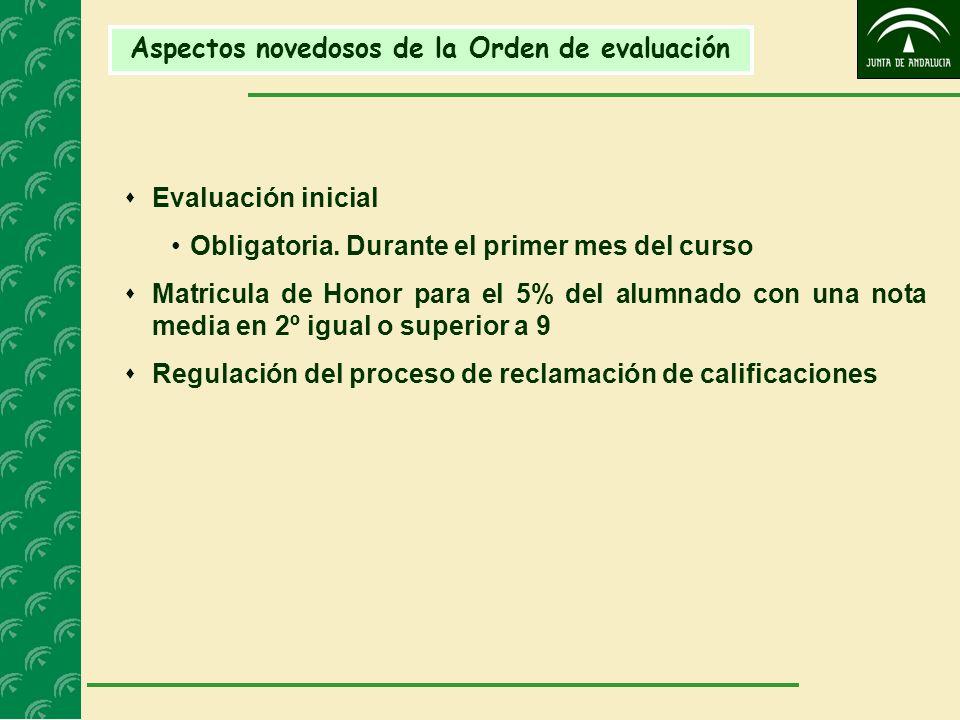 Aspectos novedosos de la Orden de evaluación Evaluación inicial Obligatoria. Durante el primer mes del curso Matricula de Honor para el 5% del alumnad