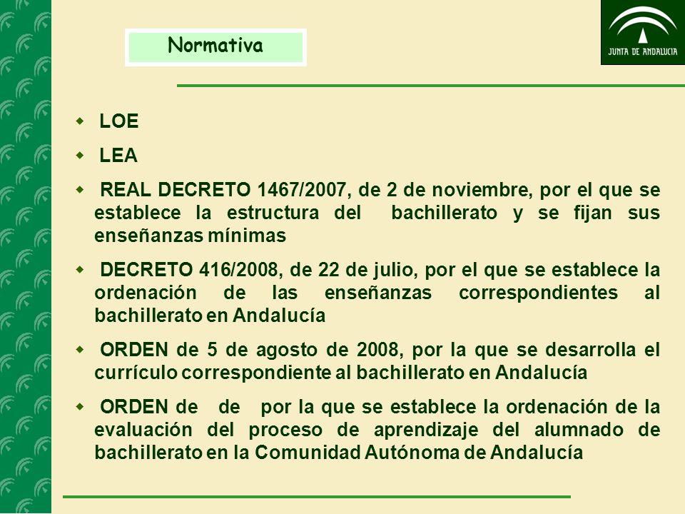 Normativa LOE LEA REAL DECRETO 1467/2007, de 2 de noviembre, por el que se establece la estructura del bachillerato y se fijan sus enseñanzas mínimas