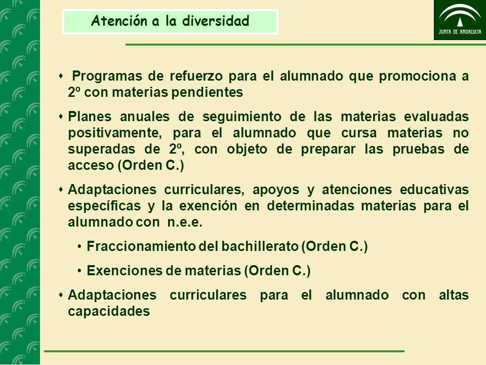 Atención a la diversidad Programas de refuerzo para el alumnado que promociona a 2º con materias pendientes Planes anuales de seguimiento de las mater