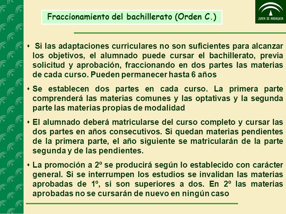 Fraccionamiento del bachillerato (Orden C.) Si las adaptaciones curriculares no son suficientes para alcanzar los objetivos, el alumnado puede cursar