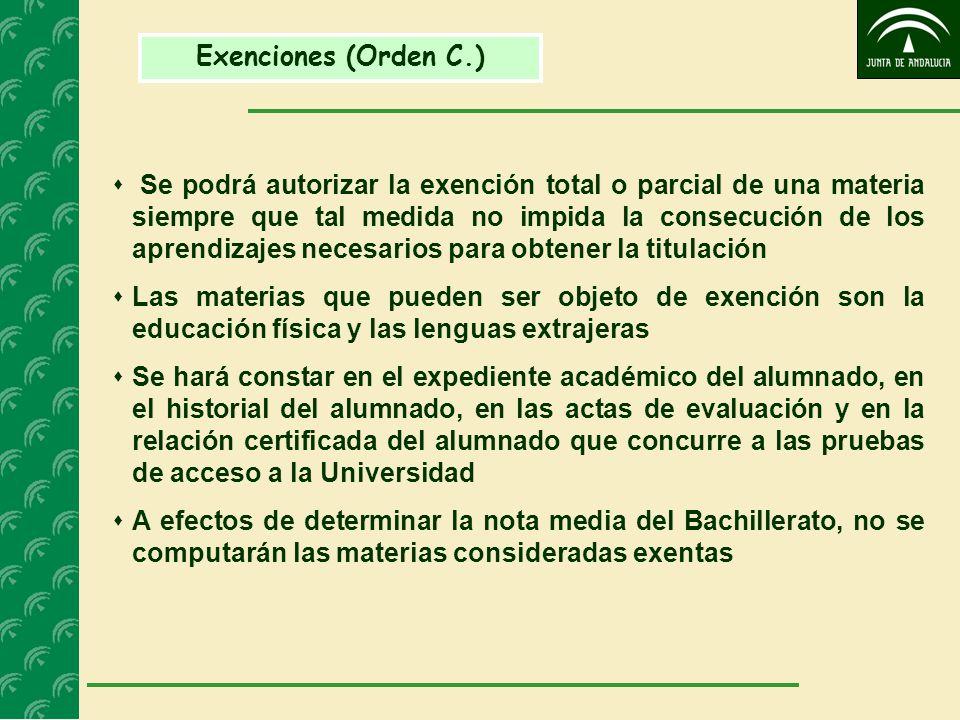 Exenciones (Orden C.) Se podrá autorizar la exención total o parcial de una materia siempre que tal medida no impida la consecución de los aprendizaje