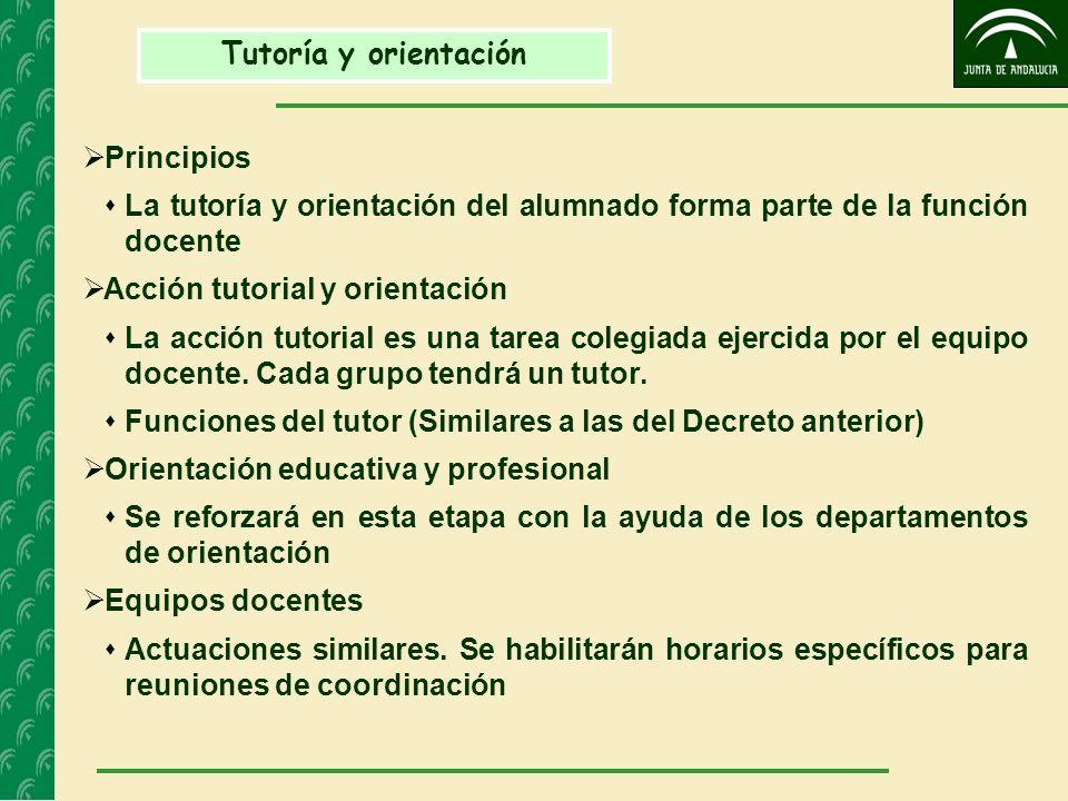 Tutoría y orientación Principios La tutoría y orientación del alumnado forma parte de la función docente Acción tutorial y orientación La acción tutor