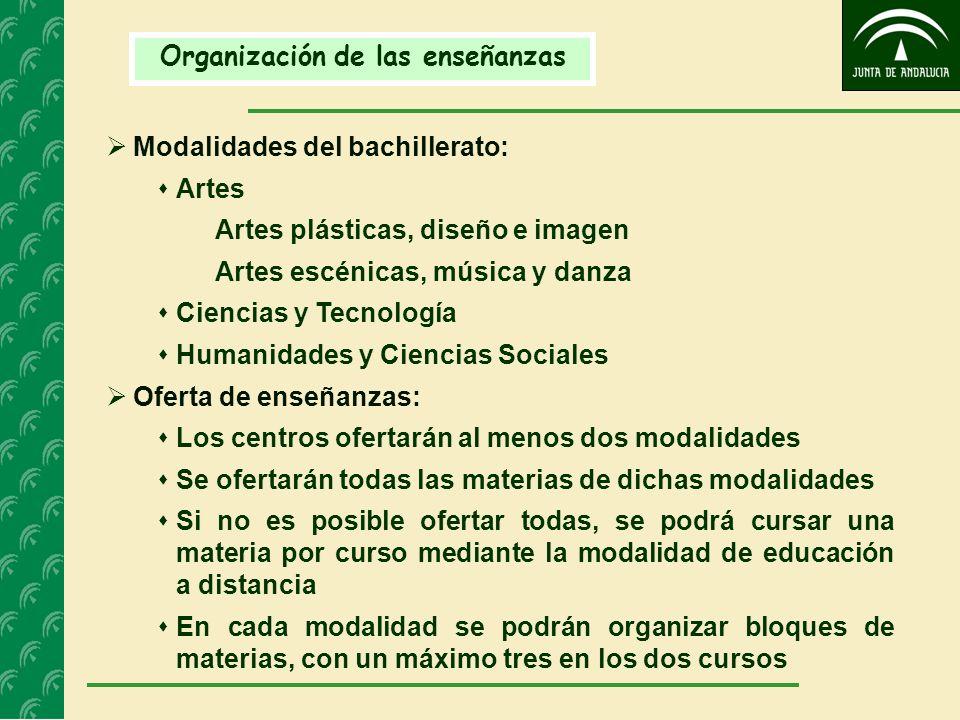 Organización de las enseñanzas Modalidades del bachillerato: Artes Artes plásticas, diseño e imagen Artes escénicas, música y danza Ciencias y Tecnolo