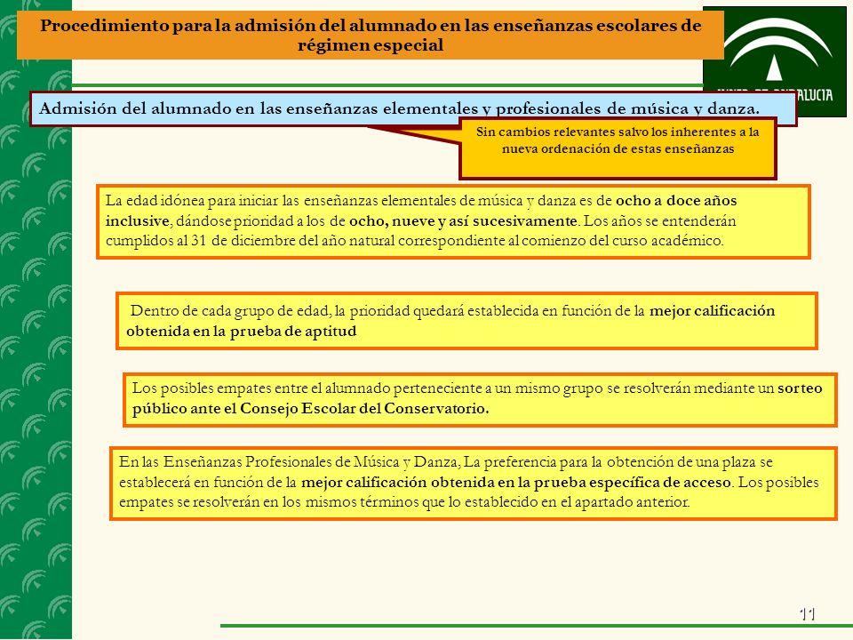 11 Procedimiento para la admisión del alumnado en las enseñanzas escolares de régimen especial Admisión del alumnado en las enseñanzas elementales y profesionales de música y danza.