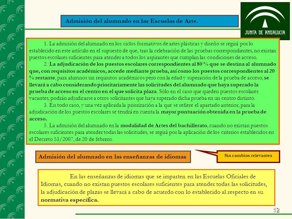 12 1. La admisión del alumnado en los ciclos formativos de artes plásticas y diseño se regirá por lo establecido en este artículo en el supuesto de qu