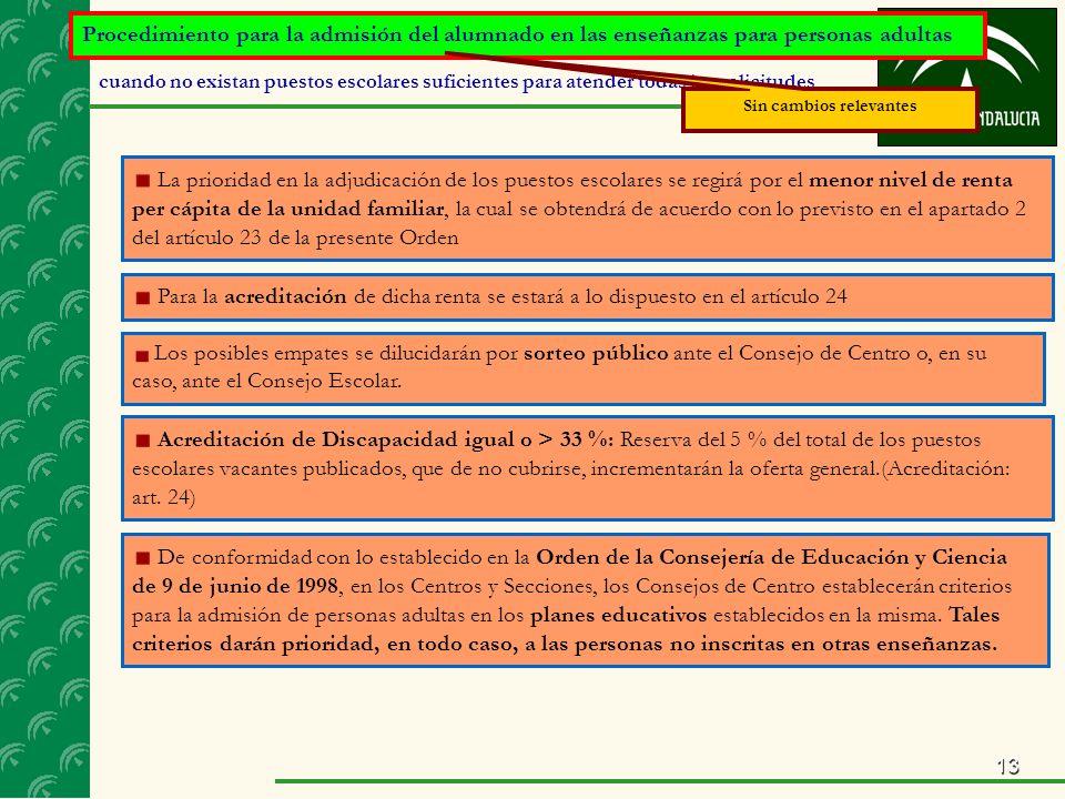 13 Procedimiento para la admisión del alumnado en las enseñanzas para personas adultas cuando no existan puestos escolares suficientes para atender todas las solicitudes La prioridad en la adjudicación de los puestos escolares se regirá por el menor nivel de renta per cápita de la unidad familiar, la cual se obtendrá de acuerdo con lo previsto en el apartado 2 del artículo 23 de la presente Orden Para la acreditación de dicha renta se estará a lo dispuesto en el artículo 24 Los posibles empates se dilucidarán por sorteo público ante el Consejo de Centro o, en su caso, ante el Consejo Escolar.