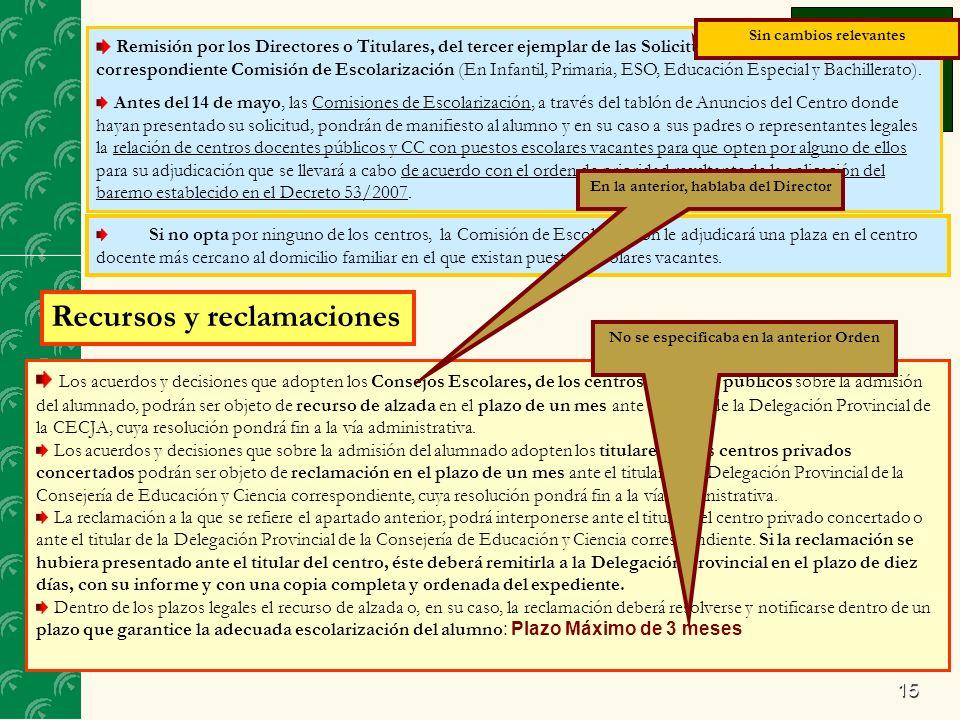 15 Remisión por los Directores o Titulares, del tercer ejemplar de las Solicitudes No Admitidas a la correspondiente Comisión de Escolarización (En Infantil, Primaria, ESO, Educación Especial y Bachillerato).