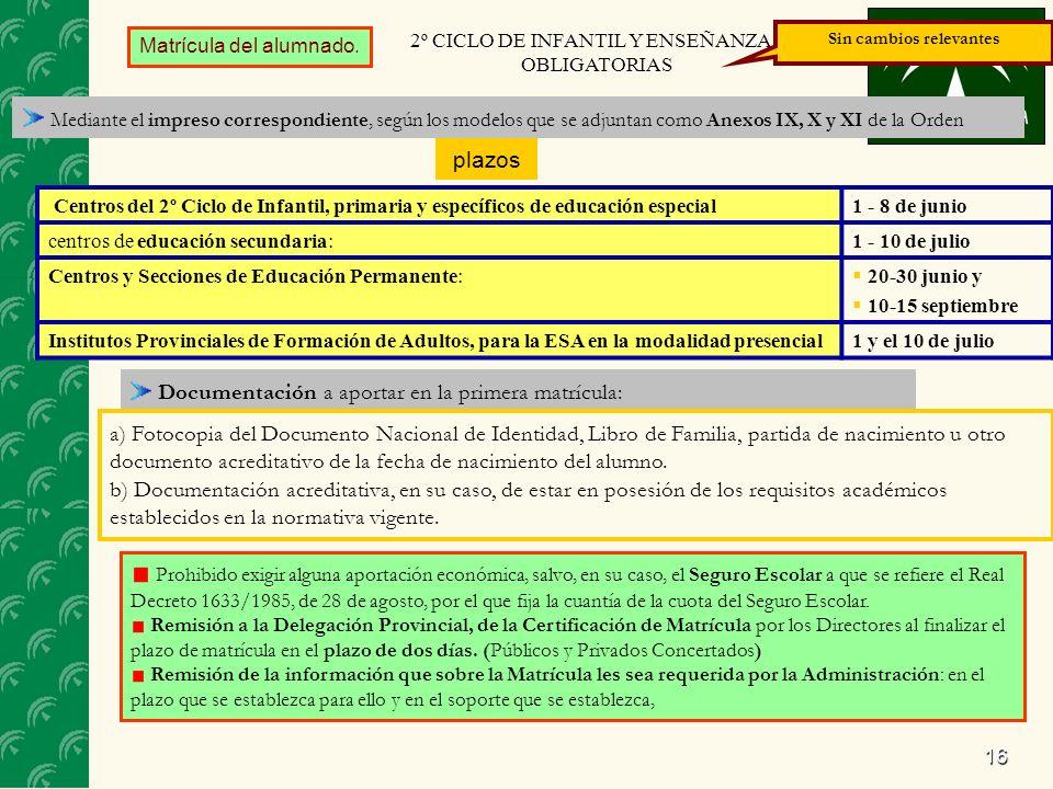 16 Matrícula del alumnado. Mediante el impreso correspondiente, según los modelos que se adjuntan como Anexos IX, X y XI de la Orden 2º CICLO DE INFAN