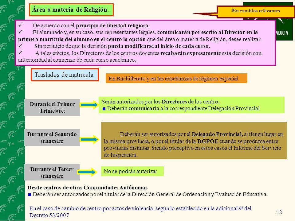 18 Área o materia de Religión. De acuerdo con el principio de libertad religiosa.