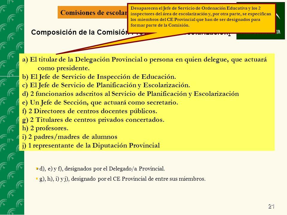 21 Comisiones de escolarización Composición de la Comisión Provincial de Escolarización. a) El titular de la Delegación Provincial o persona en quien