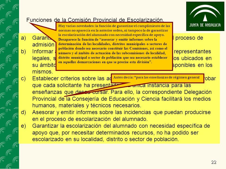22 Funciones de la Comisión Provincial de Escolarización.