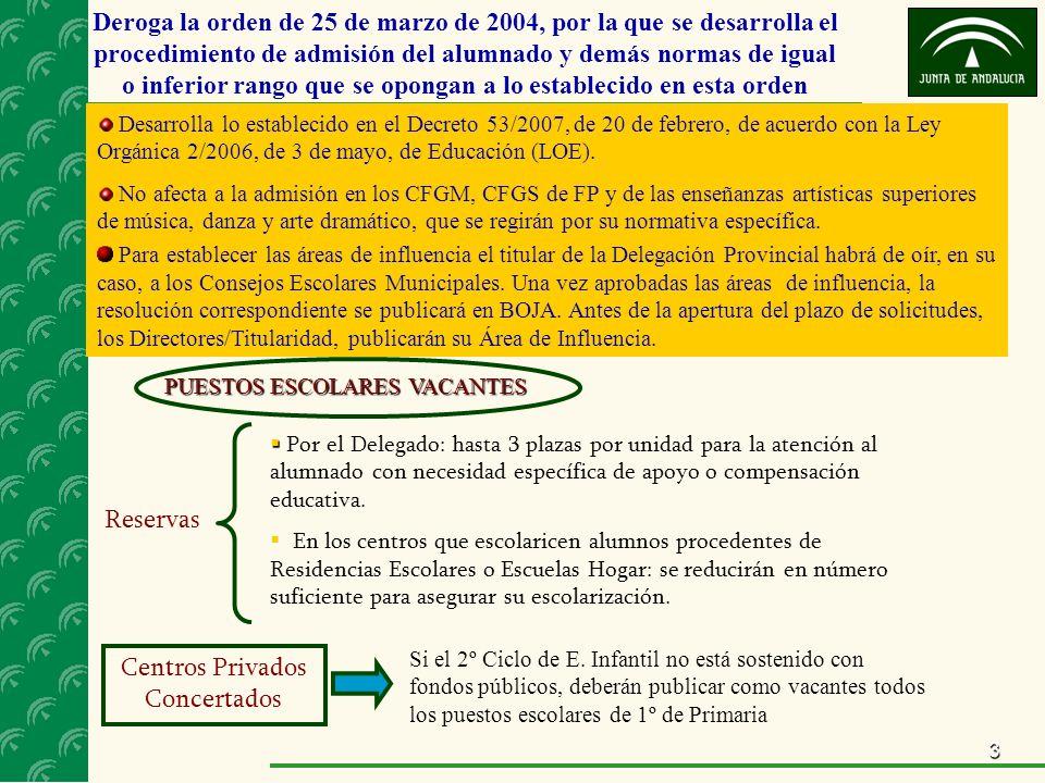 3 Deroga la orden de 25 de marzo de 2004, por la que se desarrolla el procedimiento de admisión del alumnado y demás normas de igual o inferior rango