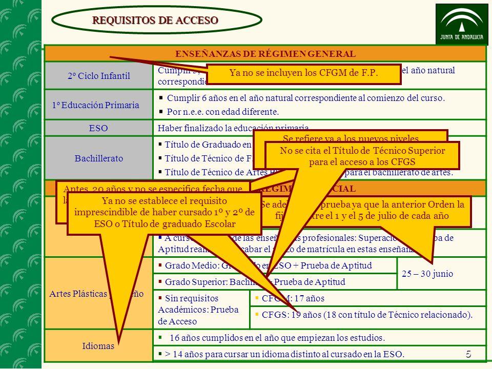 5 REQUISITOS DE ACCESO ENSEÑANZAS DE RÉGIMEN GENERAL 2º Ciclo Infantil Cumplir 3, 4 o 5 años entre el 1 de enero y el 31 de diciembre del año natural correspondiente al comienzo del curso.