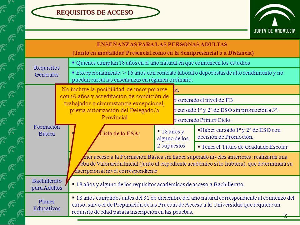 6 ENSEÑANZAS PARA LAS PERSONAS ADULTAS (Tanto en modalidad Presencial como en la Semipresencial o a Distancia) Requisitos Generales Quienes cumplan 18
