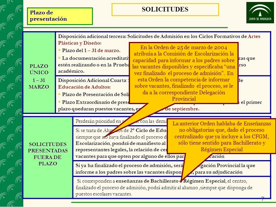 7 Plazo de presentación SOLICITUDES PLAZO ÚNICO 1 – 31 MARZO Disposición adicional tercera: Solicitudes de Admisión en los Ciclos Formativos de Dispos