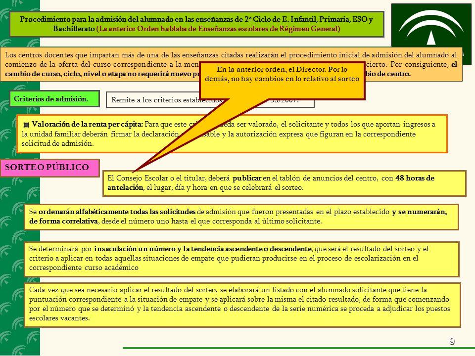 9 Procedimiento para la admisión del alumnado en las enseñanzas de 2º Ciclo de E. Infantil, Primaria, ESO y Bachillerato (La anterior Orden hablaba de