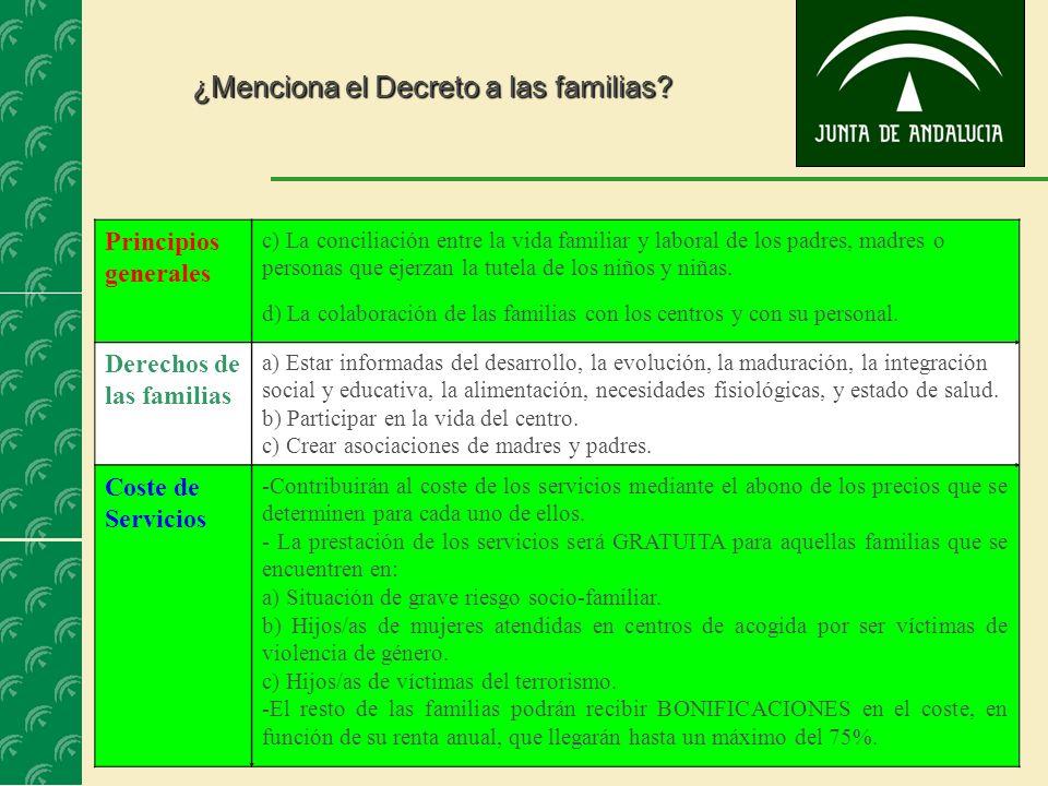 22 ¿Menciona el Decreto a las familias? Principios generales c) La conciliación entre la vida familiar y laboral de los padres, madres o personas que