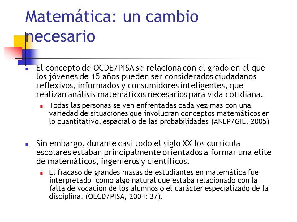 Matemática: un cambio necesario El concepto de OCDE/PISA se relaciona con el grado en el que los jóvenes de 15 años pueden ser considerados ciudadanos reflexivos, informados y consumidores inteligentes, que realizan análisis matemáticos necesarios para vida cotidiana.