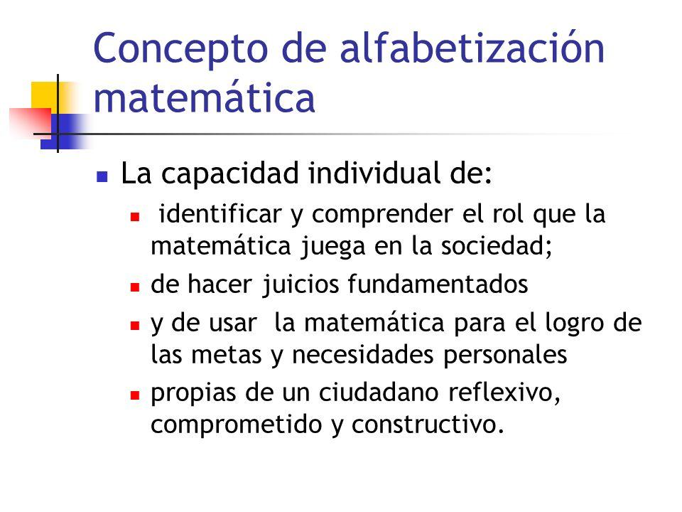 Concepto de alfabetización matemática La capacidad individual de: identificar y comprender el rol que la matemática juega en la sociedad; de hacer juicios fundamentados y de usar la matemática para el logro de las metas y necesidades personales propias de un ciudadano reflexivo, comprometido y constructivo.