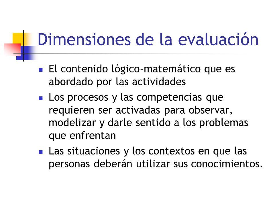 Dimensiones de la evaluación El contenido lógico-matemático que es abordado por las actividades Los procesos y las competencias que requieren ser acti
