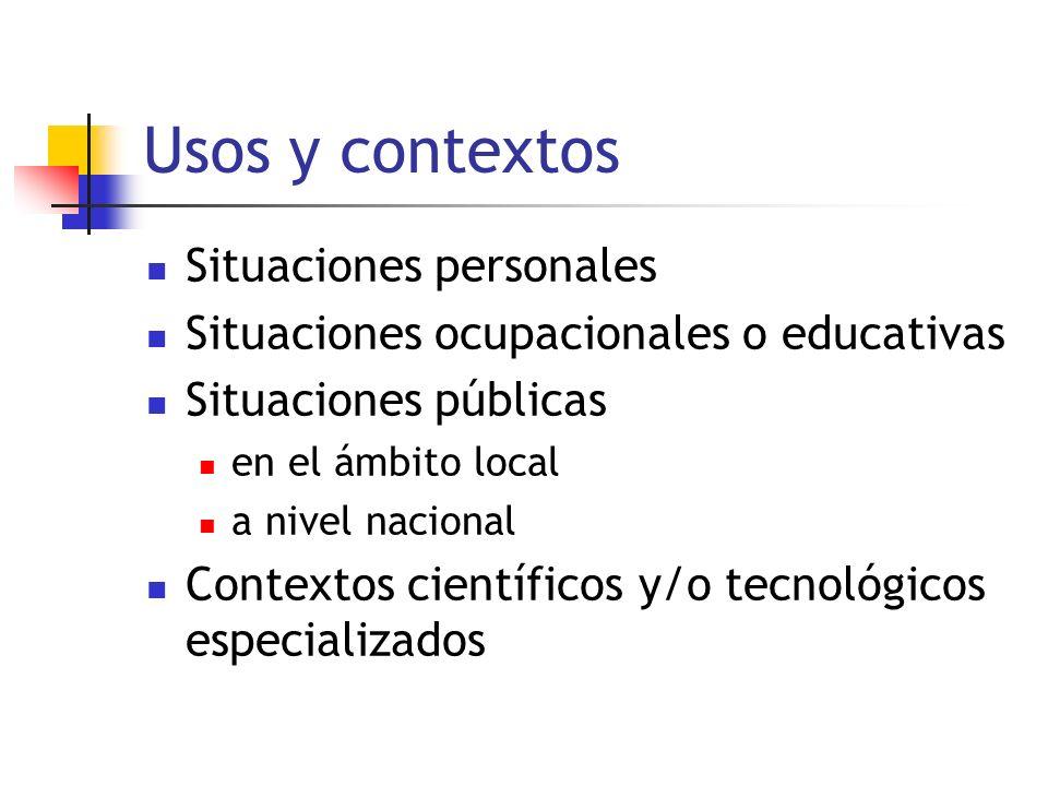Usos y contextos Situaciones personales Situaciones ocupacionales o educativas Situaciones públicas en el ámbito local a nivel nacional Contextos científicos y/o tecnológicos especializados
