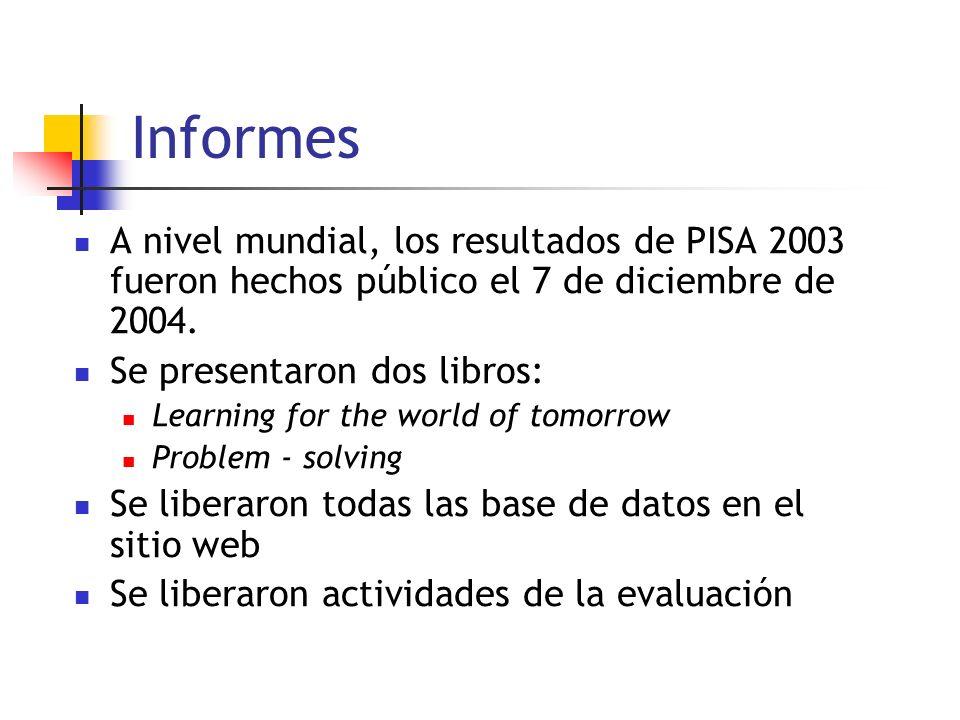 Informes A nivel mundial, los resultados de PISA 2003 fueron hechos público el 7 de diciembre de 2004. Se presentaron dos libros: Learning for the wor