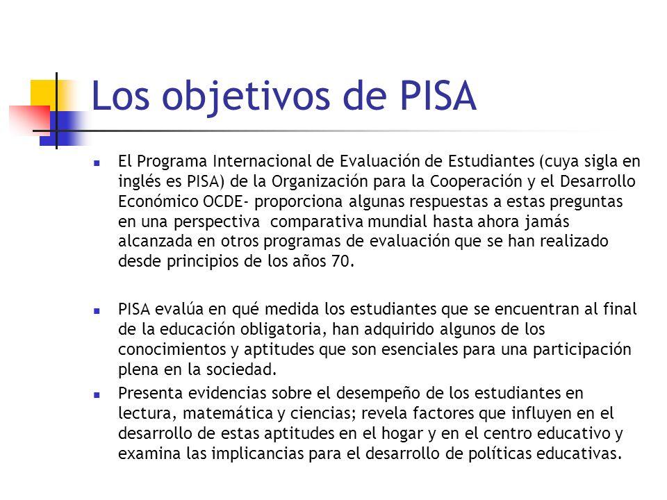 Los objetivos de PISA El Programa Internacional de Evaluación de Estudiantes (cuya sigla en inglés es PISA) de la Organización para la Cooperación y el Desarrollo Económico OCDE- proporciona algunas respuestas a estas preguntas en una perspectiva comparativa mundial hasta ahora jamás alcanzada en otros programas de evaluación que se han realizado desde principios de los años 70.