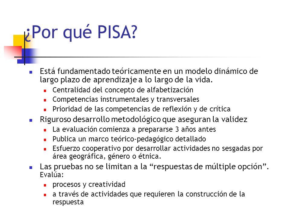 ¿Por qué PISA? Está fundamentado teóricamente en un modelo dinámico de largo plazo de aprendizaje a lo largo de la vida. Centralidad del concepto de a