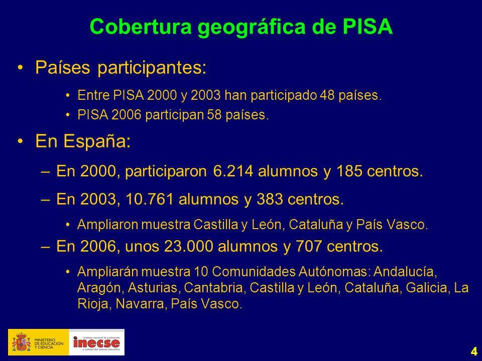 4 Cobertura geográfica de PISA Países participantes: Entre PISA 2000 y 2003 han participado 48 países. PISA 2006 participan 58 países. En España: –En