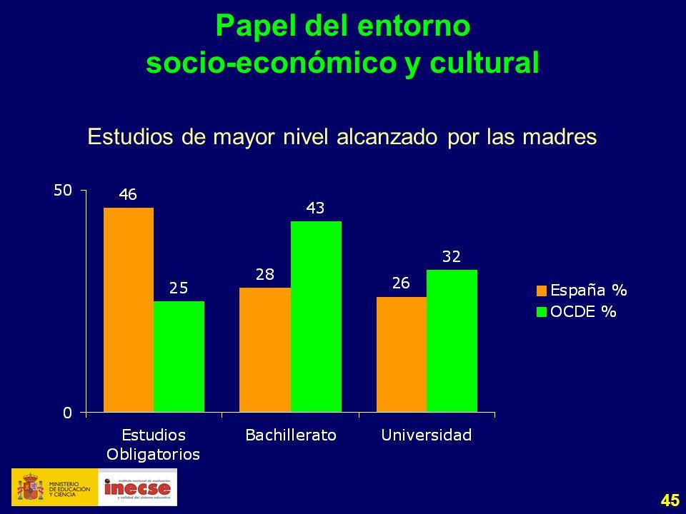 45 Papel del entorno socio-económico y cultural Estudios de mayor nivel alcanzado por las madres