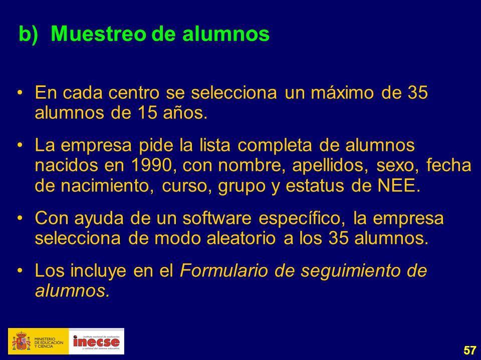 57 b)Muestreo de alumnos En cada centro se selecciona un máximo de 35 alumnos de 15 años. La empresa pide la lista completa de alumnos nacidos en 1990