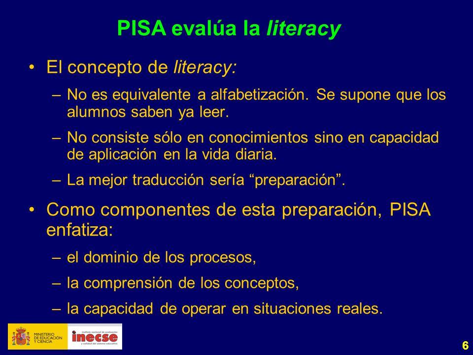 6 PISA evalúa la literacy El concepto de literacy: –No es equivalente a alfabetización.