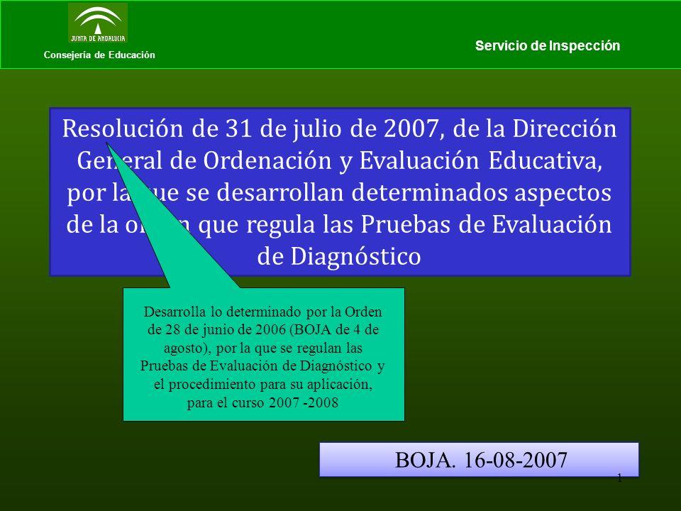 Consejería de Educación Servicio de Inspección Resolución de 31 de julio de 2007, de la Dirección General de Ordenación y Evaluación Educativa, por la que se desarrollan determinados aspectos de la orden que regula las Pruebas de Evaluación de Diagnóstico BOJA.