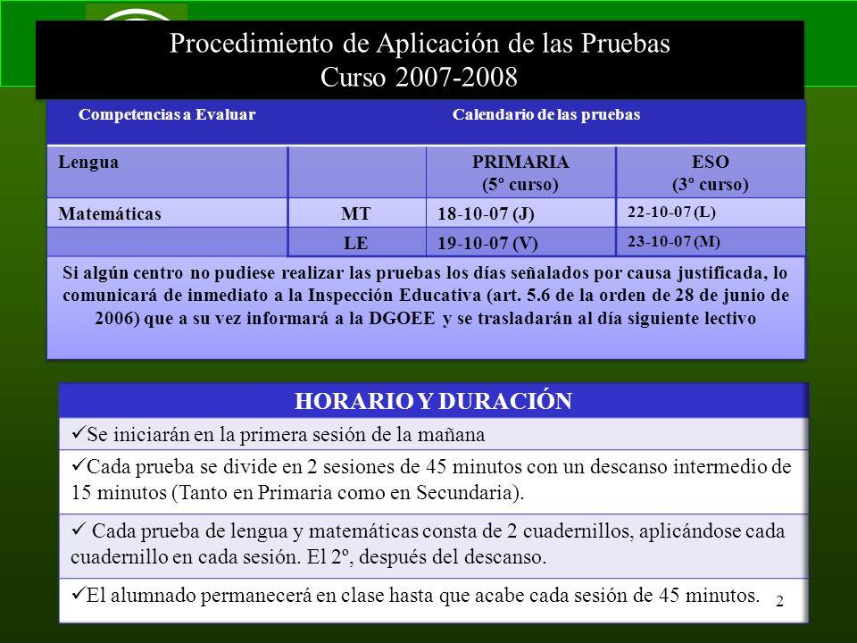 Consejería de Educación Servicio de Inspección Procedimiento de Aplicación de las Pruebas Curso 2007-2008 Procedimiento de Aplicación de las Pruebas Curso 2007-2008 2