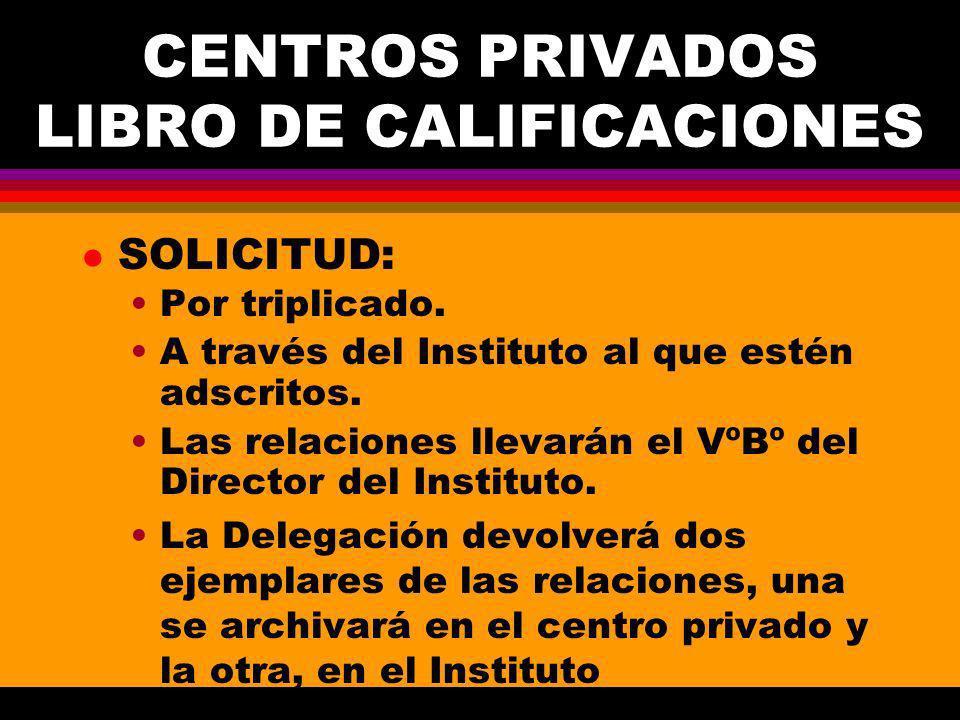 CENTROS PRIVADOS LIBRO DE CALIFICACIONES l SOLICITUD: Por triplicado.
