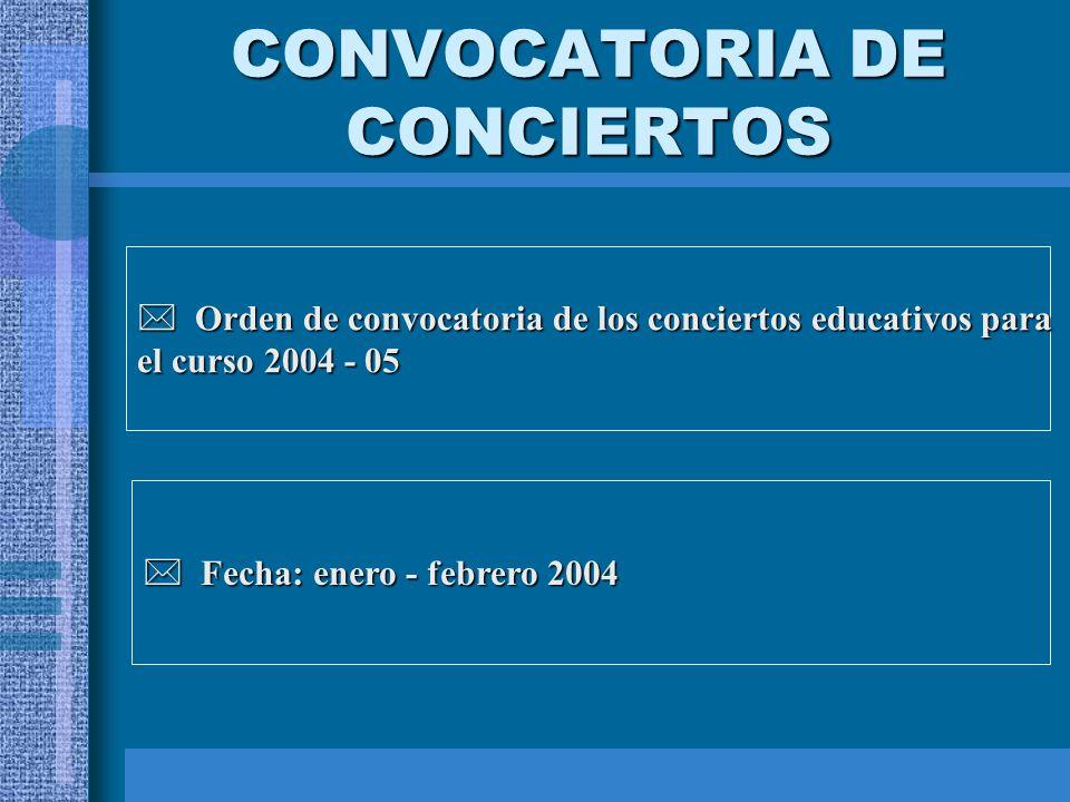 CONVOCATORIA DE CONCIERTOS Orden de convocatoria de los conciertos educativos para Orden de convocatoria de los conciertos educativos para el curso 2004 - 05 Fecha: enero - febrero 2004 Fecha: enero - febrero 2004