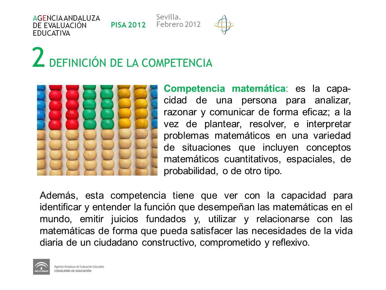 2 DEFINICIÓN DE LA COMPETENCIA Competencia matemática: es la capa- cidad de una persona para analizar, razonar y comunicar de forma eficaz; a la vez d
