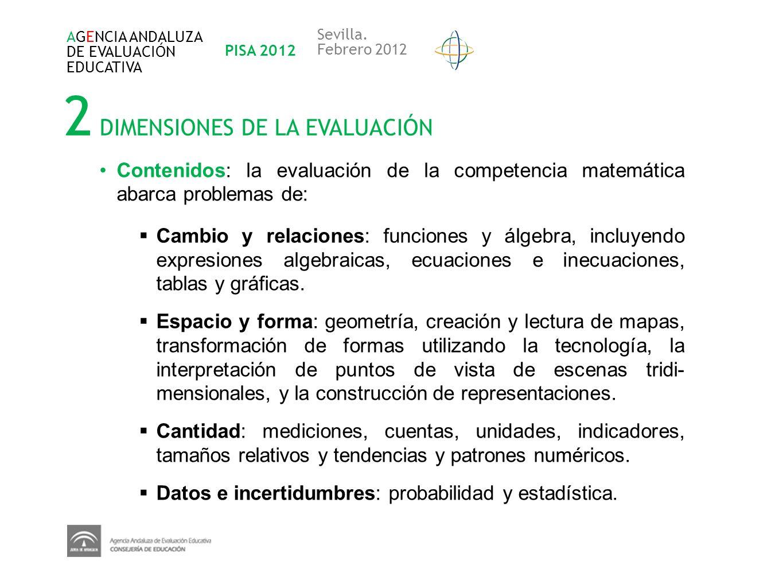 2 DIMENSIONES DE LA EVALUACIÓN AGENCIA ANDALUZA DE EVALUACIÓN EDUCATIVA PISA 2012 Sevilla. Febrero 2012 Contenidos: la evaluación de la competencia ma
