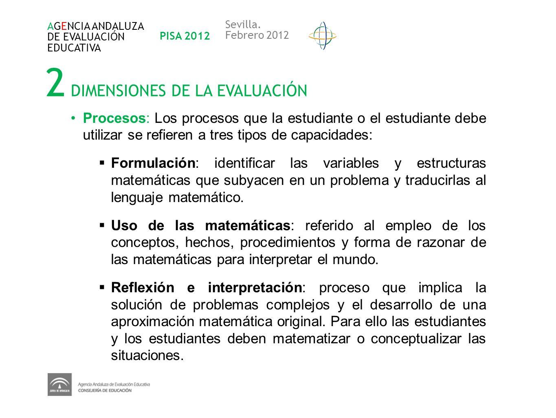 2 DIMENSIONES DE LA EVALUACIÓN AGENCIA ANDALUZA DE EVALUACIÓN EDUCATIVA PISA 2012 Sevilla. Febrero 2012 Procesos: Los procesos que la estudiante o el