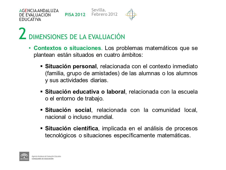 2 DIMENSIONES DE LA EVALUACIÓN AGENCIA ANDALUZA DE EVALUACIÓN EDUCATIVA PISA 2012 Sevilla. Febrero 2012 Contextos o situaciones. Los problemas matemát
