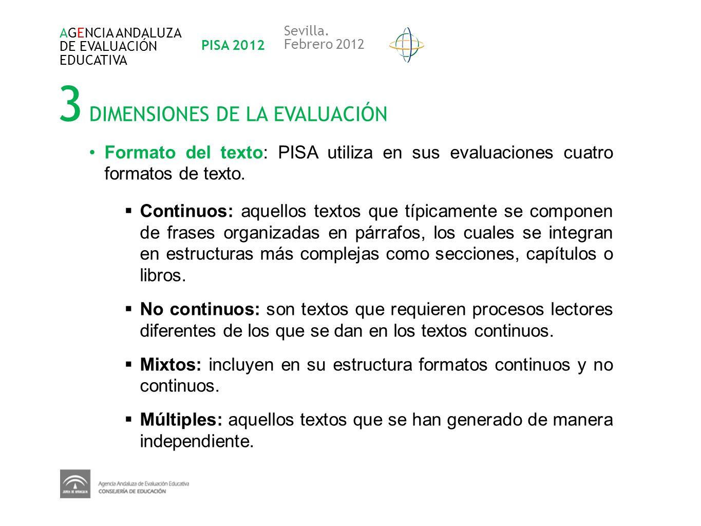 3 DIMENSIONES DE LA EVALUACIÓN AGENCIA ANDALUZA DE EVALUACIÓN EDUCATIVA PISA 2012 Sevilla. Febrero 2012 Formato del texto: PISA utiliza en sus evaluac