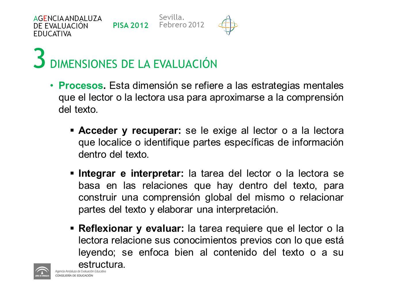 3 DIMENSIONES DE LA EVALUACIÓN AGENCIA ANDALUZA DE EVALUACIÓN EDUCATIVA PISA 2012 Sevilla. Febrero 2012 Procesos. Esta dimensión se refiere a las estr