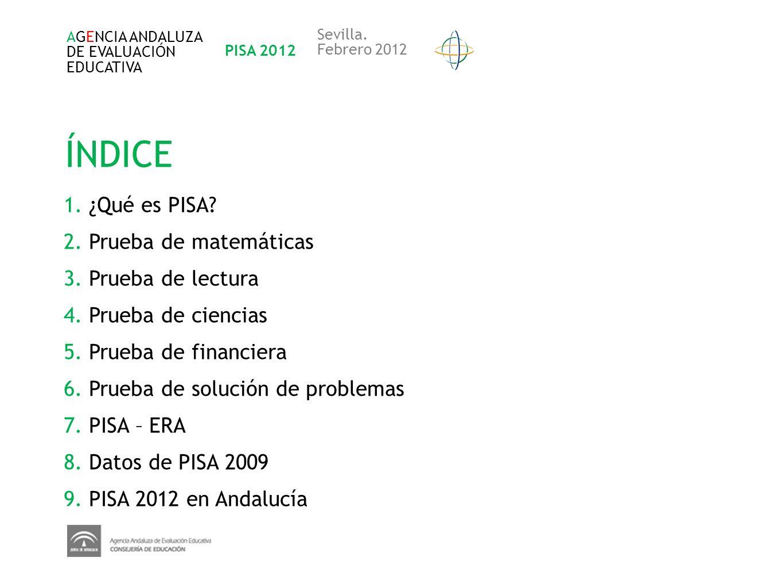 AGENCIA ANDALUZA DE EVALUACIÓN EDUCATIVA PISA 2012 Sevilla. Febrero 2012 1. ¿Qué es PISA? 2. Prueba de matemáticas 3. Prueba de lectura 4. Prueba de c