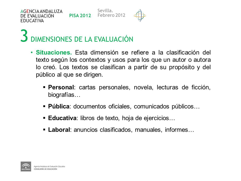 3 DIMENSIONES DE LA EVALUACIÓN AGENCIA ANDALUZA DE EVALUACIÓN EDUCATIVA PISA 2012 Sevilla. Febrero 2012 Situaciones. Esta dimensión se refiere a la cl