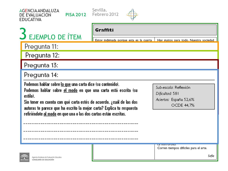 3 EJEMPLO DE ÍTEM AGENCIA ANDALUZA DE EVALUACIÓN EDUCATIVA PISA 2012 Sevilla. Febrero 2012