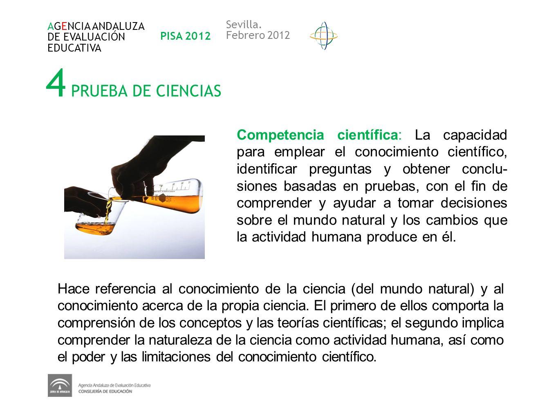 4 PRUEBA DE CIENCIAS Competencia científica: La capacidad para emplear el conocimiento científico, identificar preguntas y obtener conclu- siones basa