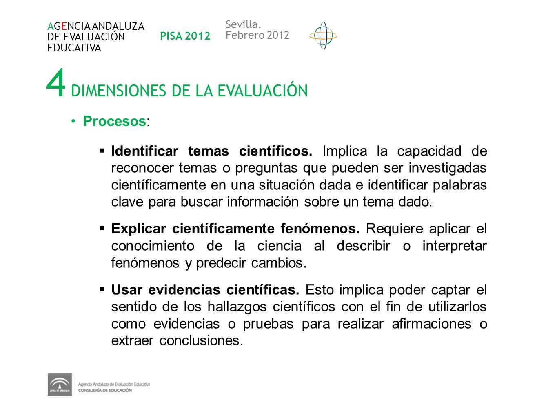 4 DIMENSIONES DE LA EVALUACIÓN AGENCIA ANDALUZA DE EVALUACIÓN EDUCATIVA PISA 2012 Sevilla. Febrero 2012 Procesos: Identificar temas científicos. Impli