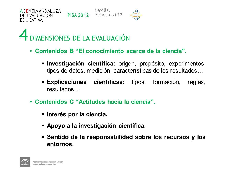 4 DIMENSIONES DE LA EVALUACIÓN AGENCIA ANDALUZA DE EVALUACIÓN EDUCATIVA PISA 2012 Sevilla. Febrero 2012 Contenidos B El conocimiento acerca de la cien
